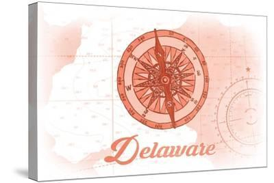 Delaware - Compass - Coral - Coastal Icon-Lantern Press-Stretched Canvas Print