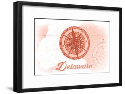 Delaware - Compass - Coral - Coastal Icon-Lantern Press-Framed Art Print