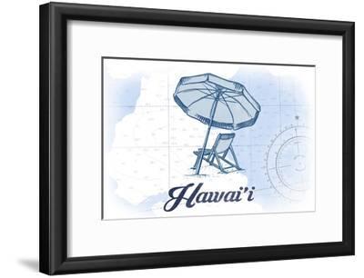 Hawaii - Beach Chair and Umbrella - Blue - Coastal Icon-Lantern Press-Framed Art Print