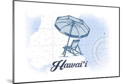 Hawaii - Beach Chair and Umbrella - Blue - Coastal Icon-Lantern Press-Mounted Art Print