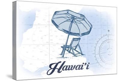Hawaii - Beach Chair and Umbrella - Blue - Coastal Icon-Lantern Press-Stretched Canvas Print