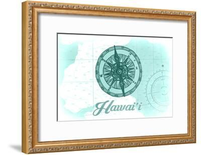 Hawaii - Compass - Teal - Coastal Icon-Lantern Press-Framed Art Print