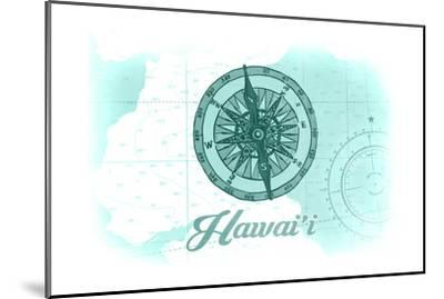 Hawaii - Compass - Teal - Coastal Icon-Lantern Press-Mounted Art Print