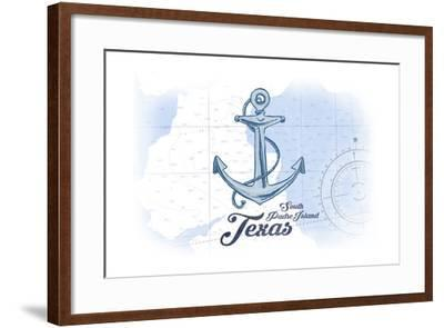 South Padre Island, Texas - Anchor - Blue - Coastal Icon-Lantern Press-Framed Art Print