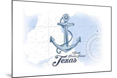 South Padre Island, Texas - Anchor - Blue - Coastal Icon-Lantern Press-Mounted Art Print