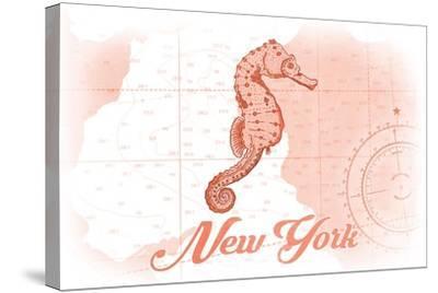 New York - Seahorse - Coral - Coastal Icon-Lantern Press-Stretched Canvas Print