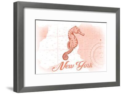 New York - Seahorse - Coral - Coastal Icon-Lantern Press-Framed Art Print