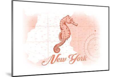 New York - Seahorse - Coral - Coastal Icon-Lantern Press-Mounted Art Print