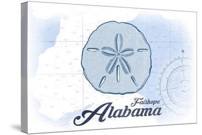 Fairhope, Alabama - Sand Dollar - Blue - Coastal Icon-Lantern Press-Stretched Canvas Print