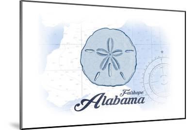 Fairhope, Alabama - Sand Dollar - Blue - Coastal Icon-Lantern Press-Mounted Art Print