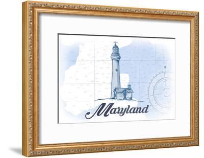 Maryland - Lighthouse - Blue - Coastal Icon-Lantern Press-Framed Art Print