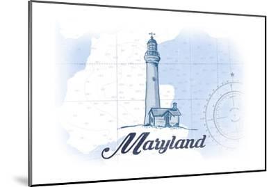 Maryland - Lighthouse - Blue - Coastal Icon-Lantern Press-Mounted Art Print
