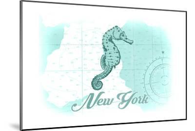New York - Seahorse - Teal - Coastal Icon-Lantern Press-Mounted Art Print