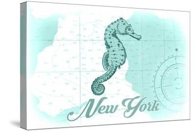 New York - Seahorse - Teal - Coastal Icon-Lantern Press-Stretched Canvas Print