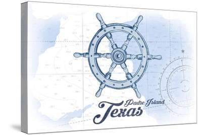 Padre Island, Texas - Ship Wheel - Blue - Coastal Icon-Lantern Press-Stretched Canvas Print