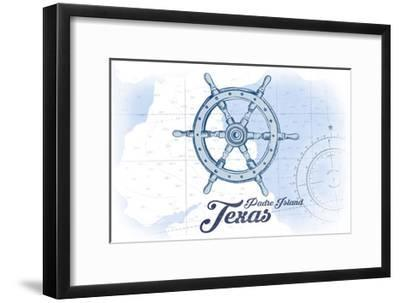 Padre Island, Texas - Ship Wheel - Blue - Coastal Icon-Lantern Press-Framed Art Print