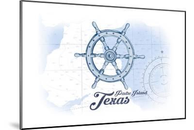 Padre Island, Texas - Ship Wheel - Blue - Coastal Icon-Lantern Press-Mounted Art Print