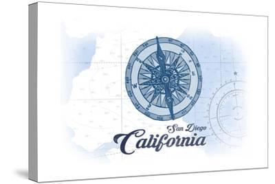 San Diego, California - Compass - Blue - Coastal Icon-Lantern Press-Stretched Canvas Print
