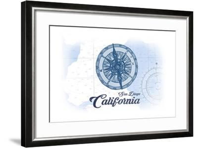 San Diego, California - Compass - Blue - Coastal Icon-Lantern Press-Framed Art Print