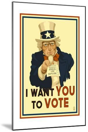 Uncle Sam - I Want You to Vote - Political-Lantern Press-Mounted Art Print