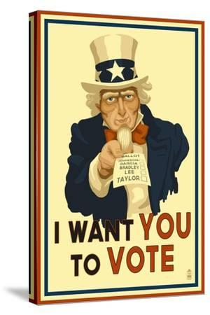 Uncle Sam - I Want You to Vote - Political-Lantern Press-Stretched Canvas Print