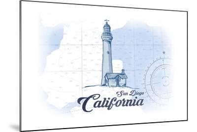 San Diego, California - Lighthouse - Blue - Coastal Icon-Lantern Press-Mounted Art Print