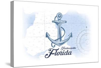 Jacksonville, Florida - Anchor - Blue - Coastal Icon-Lantern Press-Stretched Canvas Print