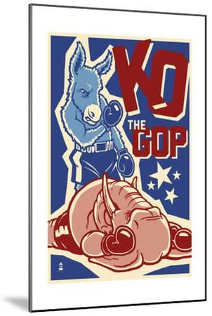Knock Out the GOP - Political-Lantern Press-Mounted Art Print