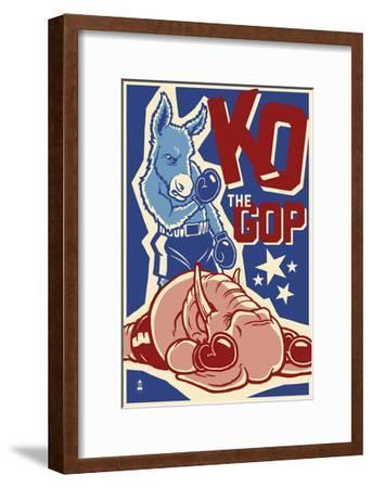 Knock Out the GOP - Political-Lantern Press-Framed Art Print