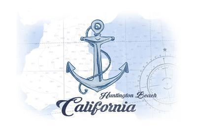 Huntington Beach, California - Anchor - Blue - Coastal Icon-Lantern Press-Framed Art Print