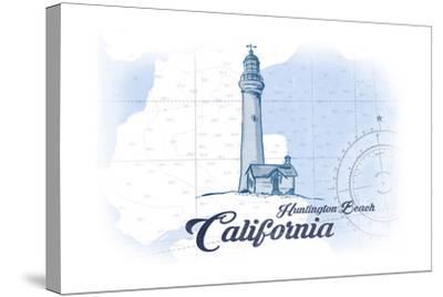 Huntington Beach, California - Lighthouse - Blue - Coastal Icon-Lantern Press-Stretched Canvas Print