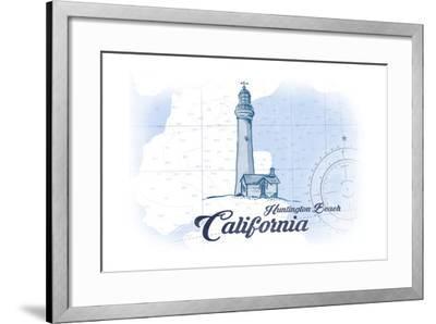 Huntington Beach, California - Lighthouse - Blue - Coastal Icon-Lantern Press-Framed Art Print