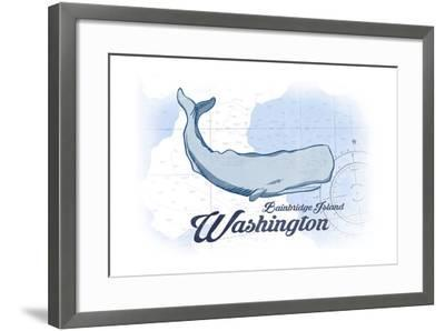 Bainbridge Island, Washington - Whale - Blue - Coastal Icon-Lantern Press-Framed Art Print