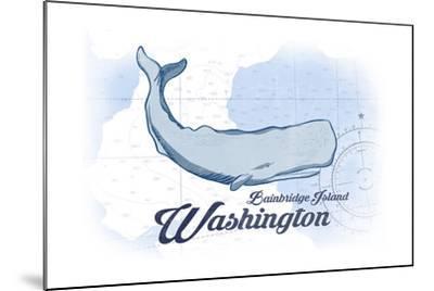 Bainbridge Island, Washington - Whale - Blue - Coastal Icon-Lantern Press-Mounted Art Print