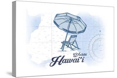 Waikiki, Hawaii - Beach Chair and Umbrella - Blue - Coastal Icon-Lantern Press-Stretched Canvas Print