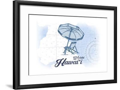 Waikiki, Hawaii - Beach Chair and Umbrella - Blue - Coastal Icon-Lantern Press-Framed Art Print