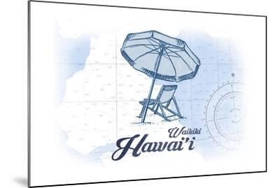 Waikiki, Hawaii - Beach Chair and Umbrella - Blue - Coastal Icon-Lantern Press-Mounted Art Print