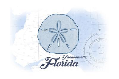 Jacksonville, Florida - Sand Dollar - Blue - Coastal Icon-Lantern Press-Framed Art Print