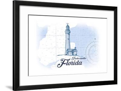 Jacksonville, Florida - Lighthouse - Blue - Coastal Icon-Lantern Press-Framed Art Print