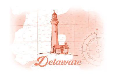 Delaware - Lighthouse - Coral - Coastal Icon-Lantern Press-Art Print