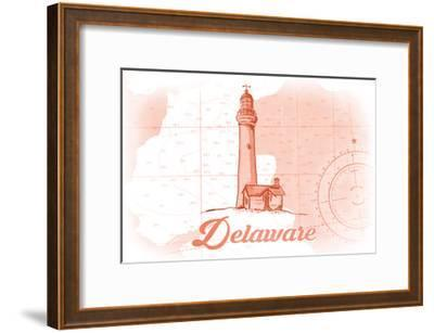 Delaware - Lighthouse - Coral - Coastal Icon-Lantern Press-Framed Art Print