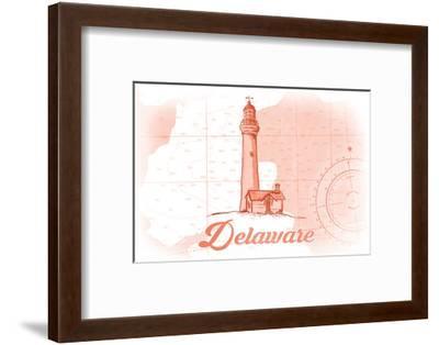 Delaware - Lighthouse - Coral - Coastal Icon-Lantern Press-Framed Premium Giclee Print