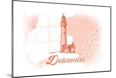 Delaware - Lighthouse - Coral - Coastal Icon-Lantern Press-Mounted Premium Giclee Print