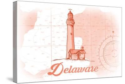 Delaware - Lighthouse - Coral - Coastal Icon-Lantern Press-Stretched Canvas Print