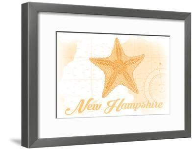 New Hampshire - Starfish - Yellow - Coastal Icon-Lantern Press-Framed Art Print