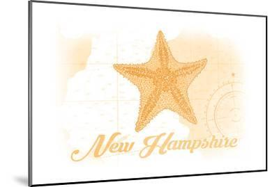 New Hampshire - Starfish - Yellow - Coastal Icon-Lantern Press-Mounted Art Print