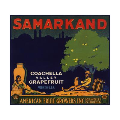 Samarkand Brand - Los Angeles, California - Citrus Crate Label-Lantern Press-Framed Art Print