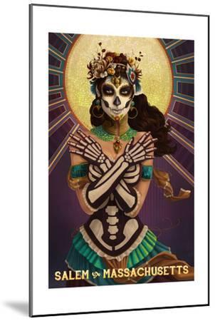 Salem, Massachusetts - Day of the Dead Crossbones-Lantern Press-Mounted Art Print