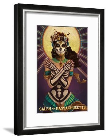 Salem, Massachusetts - Day of the Dead Crossbones-Lantern Press-Framed Art Print