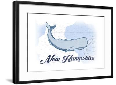 New Hampshire - Whale - Blue - Coastal Icon-Lantern Press-Framed Art Print